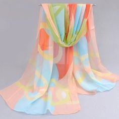 $4.65 Refreshing Chiffon Multicolor Circle Pattern Design Scarf For Women