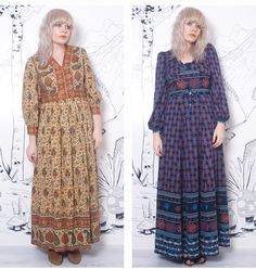 "model wearing 70s vintage hippie boho maxi dress "" Title="