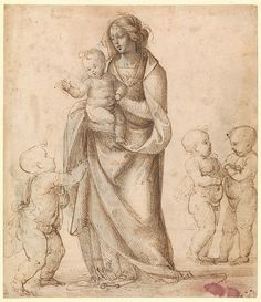 Fra Bartolomeo (Bartolommeo della Pota), 1472-1517, Italian, Madonna and Child with the Infant Saint John the Baptist and Two Putti, 1505–6(?). Pen and brown ink, touches of brown wash, heightened with white (partly oxidized), over traces of black chalk, on tinted paper; 18.7 x 16.3 cm. Metropolitan Museum of Art, New York. High Renaissance.