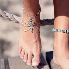 Blue stone Beads Anklets Chic Tassel Foot Chain Anklet Body Jewelry An – StoreBohoChicStyle Silver Ankle Bracelet, Foot Bracelet, Silver Toe Rings, Anklet Bracelet, Anklet Jewelry, Chain Jewelry, Silver Jewelry, Body Jewelry, Bridal Jewelry