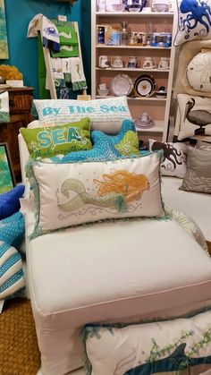 "Everything Coastal - August Rightside Design's ""I Sea Life"" coastal collection was featured in their post, ""Beach House Decor Discoveries at Summer Markets! Decor, Coastal Decor, Florida Home, Beach House Decor, Beach Room, Beach Cottages, Home Decor, Beach Cottage Decor, Beach Decor"