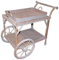 Smithsonian-Henry Link Wicker Tea Cart - Bar Carts & Cabinets - Dining Room - Furniture One Kings Lane Dining Room Furniture, Antique Furniture, Home Furniture, Antique Shops, Antique Items, Rattan, Wicker, Drink Cart, Tea Cart