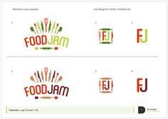 The logo design process - FoodJam Identity