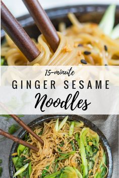 Looking for a quick and easy dinner that will be ready in 15 minutes? Try these 15 minute sesame ginger noodles! They're healthy, vegan and gluten-free! #noodlerecipes #asiannoodles #healthydinnerrecipes #veganrecipes #glutenfreerecipes
