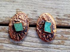 Copper Turquoise Earrings Turquoise Chunk Post by TheCopperCat