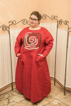 Купить Платье красное из плотного льна - платье длинное, платье длинное в пол, Платье красивое