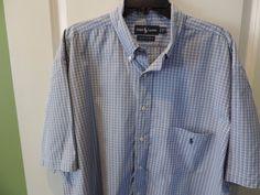 Ralph Lauren Polo 100% Cotton Big & Tall Blue Plaid S/S Shirt XLT Mint Fast Ship #RalphLauren #ButtonFront
