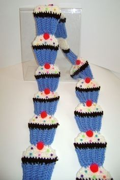 New cupcake Scarf Pattern Blue cup with cream frosting. $5.00, via Etsy.