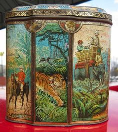 This Huntley and Palmers Indian Elephant biscuit tin, circa features a unique shape and elaborate color lithography. Vintage Tins, Vintage Shabby Chic, Tin Containers, Tea Tins, Indian Elephant, Milk Cans, Pretty Box, Art Nouveau, Tin Boxes