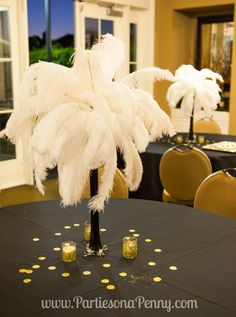 My Goodbye Roaring 20's 30th Birthday Party, eiffel tower feather centerpiece www.PartiesonaPenny.com
