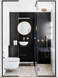 Black framed shower is dramatic and chic # shower room - Badezimmer Ideen - Small Bathroom Renovations, Bathroom Trends, Bathroom Ideas, Small Bathrooms, Shower Bathroom, Bathroom Designs, Bathroom Taps, White Bathrooms, Bathroom Black