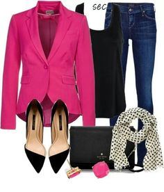 Casual Friday can be a day to wear something fun that you don't wear for business formal events. This hot pink blazer may not be right for a meeting with government officials, but it works well for dressing up casual jeans for Casual Fridays.