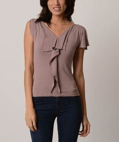 This Pale Mauve Lined Jabot V-Neck Top by Jonäno is perfect! #zulilyfinds