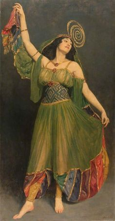 Souvenir of Chu Chin Chow. John Collier (English, 1850-1934).Oil on canvas.Glynn Vivian Art Gallery. Chu Chin Chow, based on the Arabian Nights tale of Ali Baba and the 40 Thieves, premièred at His Majesty's Theatre in London in 1916. It was a big budget spectacular costing £5300 with over a dozen scene changes, fantastic sets, big dance routines and exotic costumes. The design for the show had been inspired by the fashion for all things Eastern.