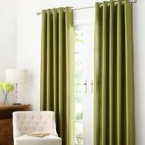 Green Dakota Lined Eyelet Curtains