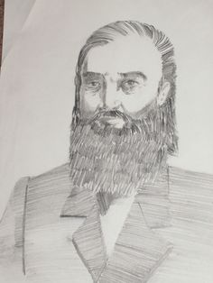 """Daniel Wood, Early Mormon Pioneer"" (My former Mission President's Wife, Mary Ellen Wood Smoot's Great Great Grandfather.) Pencil, Late 1990's"