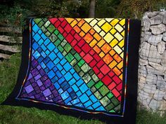 Rain bow quilt, chakra quilt , hand made, made in Canada, made to order, patch work ,OOAK, choose your size and colour,