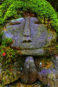 Interesting landscape art of a stone face with moss as hair, praying. Located : Otagi-Nenbutuji Temple, Oku-Saga, Arashiyama area, Kyoto.