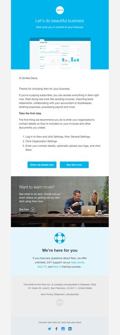 @xeroaccounting sent this email with the subject line: Welcome to Xero — let's get started - Read about this email and find more welcome emails at ReallyGoodEmails.com #welcome #b2b #financial