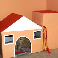 Make Your Furry Friend His Very Own Cardboard Cat House! This House Is Much  Easier