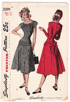 Vintage 1947 Simplicity 2099 Sewing Pattern Juniors', Misses' One-Piece Dress Size 11 Bust 29