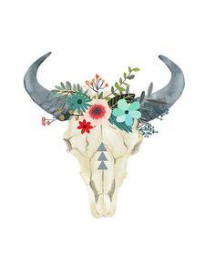 5a241b18dcf Bull Skull Printable Art Cow skull Tribal Art by PaperStormPrints