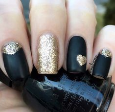 Black and Gold Glitter Nails