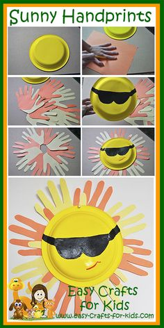 Summer Crafts Join our Crafty Critters in making your very own sunny handprints at www.easy-crafts-for-Join our Crafty Critters in making your very own sunny handprints at www.easy-crafts-for- Beach Crafts For Kids, Sun Crafts, Summer Crafts For Kids, Toddler Crafts, Crafts To Do, Easy Crafts, Art For Kids, Camping Crafts For Kids, Kids Crafts