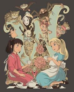 alice wonderland chihiro ghibli miyazaki spirited away mad hatter chesire anime carroll burton Movies-&-TV Art Studio Ghibli, Studio Ghibli Films, Hayao Miyazaki, Totoro, Animation, Art Buddha, Fantasy Magic, Tumblr Wallpaper, Alice In Wonderland