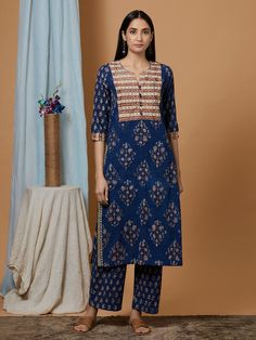 Buy Indigo Hand Block Printed Cotton Kurta online at Theloom