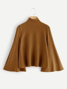 Mock Neck Bell Sleeve Jersey Sweater -SheIn(Sheinside) Source by leanoraalleenzq juvenil femenina moda bajitas Teen Fashion Outfits, Trendy Outfits, Fashion Dresses, Muslim Fashion, Hijab Fashion, Women's Fashion, Fashion Black, Sweater Fashion, Fashion Ideas