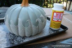 """DIY Sand Embellished Painted Pumpkins with coastal-themed designs :: (via Sand & Sisal post on 9/17/2013 - """"Coastal Pumpkins"""")"""