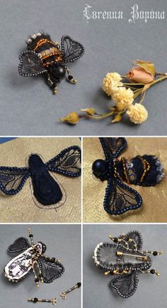 Miniature Bee Brooch DIY – a free tutorial on the topic: Needlework ✓DIY ✓Steps-By-Step ✓With photos Bead Embroidery Tutorial, Bead Embroidery Jewelry, Beaded Jewelry Patterns, Fabric Jewelry, Beaded Embroidery, Embroidery Ideas, Bee Jewelry, Insect Jewelry, Jewelry Art
