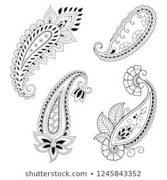 Set of Mehndi flower pattern for Henna drawing and tattoo. Decoration in ethnic oriental, Indian style. Henna Tattoo Designs, Mehndi Designs, Mehndi Flower, Style Indien, Henna Drawings, Paisley Art, Simple Henna, Jewelry Illustration, Madhubani Painting