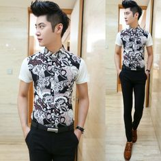2014 Mens Slim Fit Classic Flower Print Shirts Short-sleeve Cool Man Summer Clothes $22.88