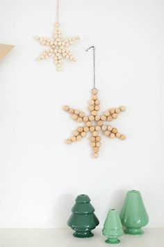 DIY Wooden Bead Star #wooden #woodbeads #woodenbeads #snowflake #ornaments