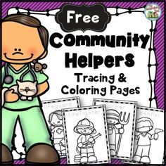 Free Community Helpers Tracing and Coloring Pages: This set includes coloring pages for 21 community helpers. The name of the community helper is included on each page for your students to trace. Community Helpers Worksheets, Community Helpers Activities, Community Helpers Kindergarten, Kindergarten Social Studies, School Community, In Kindergarten, Community Helpers Art, Community Jobs, Communities Unit