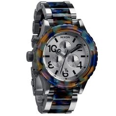 Multicolored acetate highlights the bezel and bracelet of this Nixon watch. This rugged and stylish timepiece features chronograph subdials and a date window for added functionality.