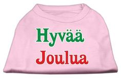 Mirage Pet Products Pet Dog Hyvaa Joulua Screen Print Shirt Dress Costume Light Pink XXXL - 20