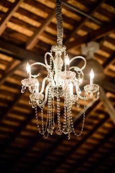 Lovely chandelier for rustic winery wedding, photo by Chrisman Studios   junebugweddings.com