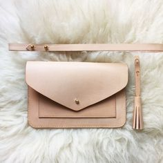 Handmade vegetable tanned leather clutch bag - colour: natural via Kles. Click on the image to see more!