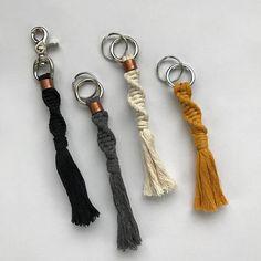 "Helix Macrame Keychain | Bag Clip | 7"" Long | Silver Swivel Clip | Cotton String | Rope | Accessories | Keys | Tassel | Fringe"