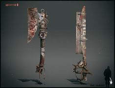Melee weapon design for PC game. -fotobashing and overpainting (photoshop) please zoom for more details Zombie Gear, Zombie Weapons, Anime Weapons, Survival Weapons, Fantasy Weapons, Mad Max, Apocalypse World, Zombie Apocalypse, Borderlands Art
