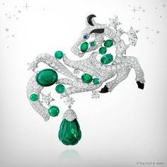 Zodiac Set Taurus clip, Palais de la chance collection, Van Cleef & Arpels: white gold, diamonds, emeralds, one carved emerald of 14.41 carats, onyx, grey mother-of-pearl and one cabochon-cut sapphire.