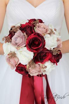 dusty rose mauve burgundy rose gold Bridal Wedding Bouquet cheap artificial