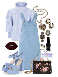 """""""Park Bench"""" by jelisaj ❤ liked on Polyvore featuring Temperley London, Glamorous, Dolce&Gabbana, Lime Crime, Versace, Azature, Gucci, outfit and Blue"""