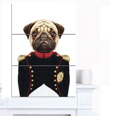 Designart 'Pug Dog in Military Uniform' Modern Animal Canvas Art