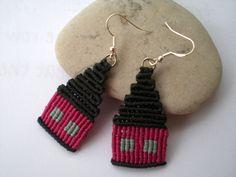 Macrame jewellery. Tribal earrings. Pink. Small house earrings. Hippie earrings. Gypsy earrings. by asmina on Etsy
