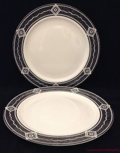 """2 Vtg 1994 Sakura Black Diamond Dinner Plates Sue Zipkin 10 3/4"""" Majesticware FS #Sakura"""
