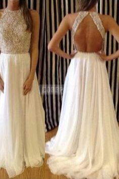 Beading Jewel Open Back Chiffon A-line Prom Dress